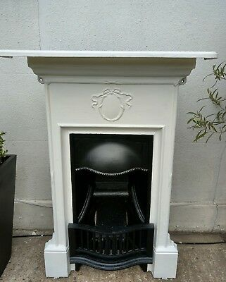 Elegant Victorian Cast Iron Combination Fireplace Complete with Mantle & Damper