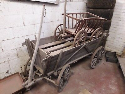 Large and small old wooden dog farm cart barrow