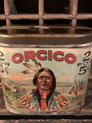 ORCICO OVAL 2 FOR 5 CENT CIGAR TIN Very Clean Colors and Graphics!