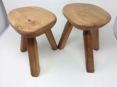 Pair of Vintage Small Elm and Pine Milking Stools H24 x W23 x 18 cms