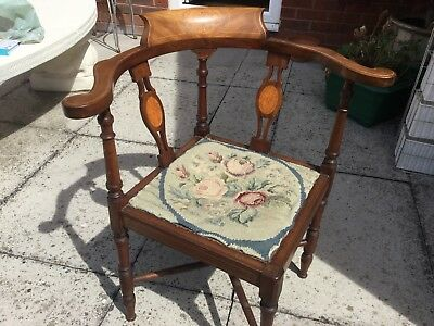 Edwardian Mahogany Corner Chair Needs Reupholstering