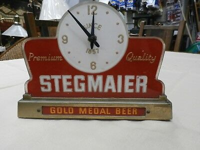 Vintage 1940's STEGMAIER BEER Sign Clock Cash Register Topper-Works
