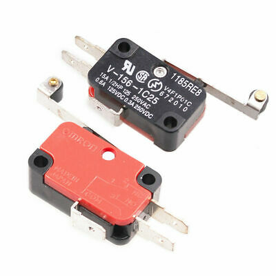10pcs-Pack Micro Limit Switch Long Hinge Roller Momentary SPDT V-156-1C25 5A #6H