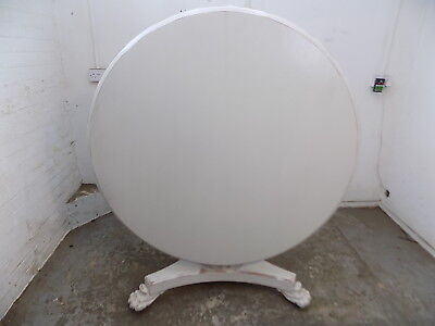 antique,victorian,large,round,painted,tilt top,mahogany,dining table,castors,