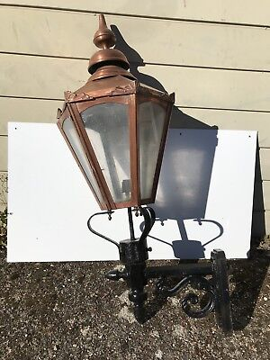 Vintage Salvage Copper Extra Large Outdoor Lantern & Wall Bracket