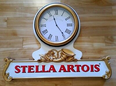 "COLLECTIBLE STELLA ARTOIS BEER CLOCK SIGN 32"" x 24"" *RARE* BAR MAN CAVE BREWERY"