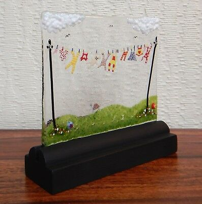Handmade original Fused Glass Picture:  'BABY WASHING-LINE'.