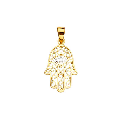 14K Yellow White Gold Filigree Hamsa Hand Evil Eye Pendant - Luck Necklace Charm