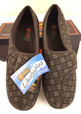 Comfylux Mens Wide Fit Checked Comfort Soft Slippers Brown Size 11 Washable