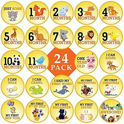 """Baby Monthly Milestone Stickers Premium 24 Pack with Cute 4"""" Happy Animal Sticke"""