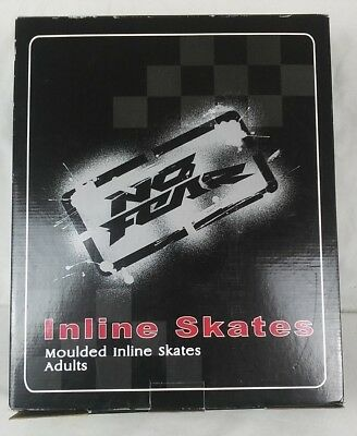 No Fear Mens Ladies Moulded Inline Skates Silver/Black Adult Size 6 New in Box