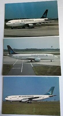 Garuda Indonesia Airways Airlines 737 /A300B4-220 3 Postcards