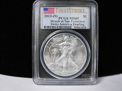 💰🔥2013-(S) 1oz SILVER EAGLE 'SWISS AMERICA TRADING' PCGS MS69 WOW - WORTH $68!
