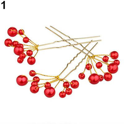 Fashion Bridal Hair Accessories Faux  Pearl Flower Hair Pin Jewelry Wedding RED