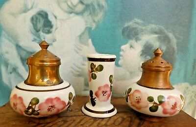 Vintage antique pepper salt shakers set brass copper porcelain kitchen