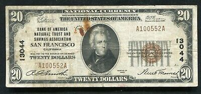 1929 $20 Bank Of America San Francisco, Ca National Currency Ch. #13044 (B)