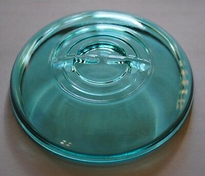 Vintage BLUE GLASS LID for Wire Bail Closure ~ Regular~Mouth Ball... Canning Jar
