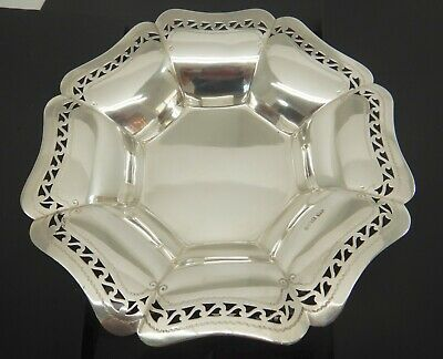 Antique English Sterling Solid Silver Octagonal Bowl. 8.7 Oz 8 Inch Dia