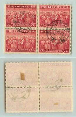 Lithuania 1939 SC 306 used block of 4 . rta3613