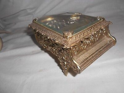 Vintage? Beveled Glass Metal Grand Piano Music Jewelry Box w/ Butterflies