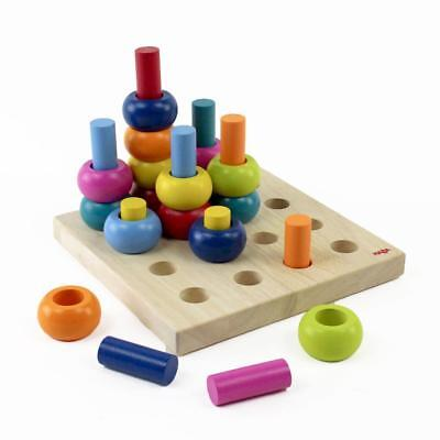 Palette of Pegs - 32 Colorful Wooden Pieces - Motor Skills Toy