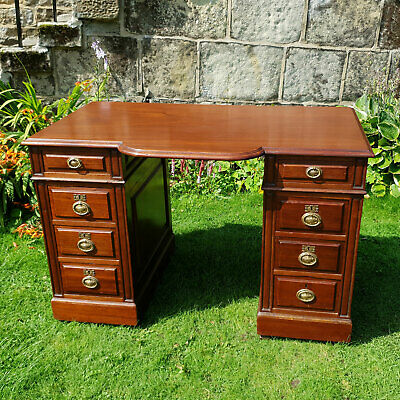Victorian Mahogany Breakfront Double Pedestal Desk C1870 (Antique)