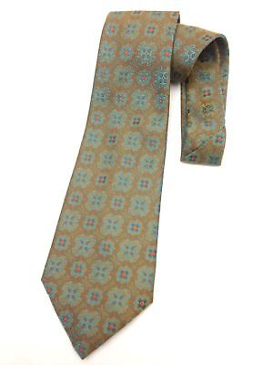 Vintage Necktie Wide Neck Tie Boho Jacquard Tapestry Paisley Teal Blue Bronze