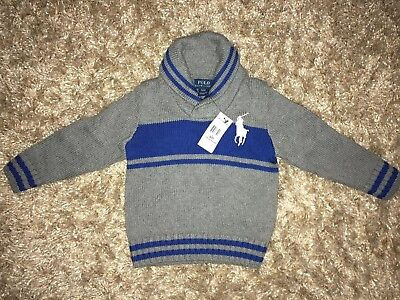 NWT Polo Ralph Lauren Baby Boys Blue/Grey Shawl Collar Big Pony Sweater - 3/3T