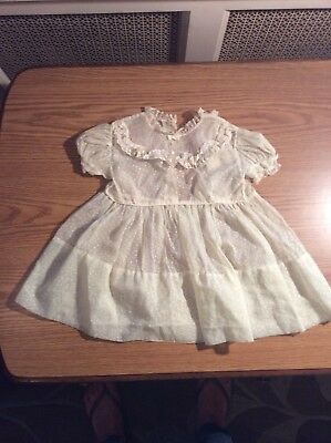 Vintage White Nylon Dotted Swiss Organdy Dress 1950's Baby Toddler Large Doll