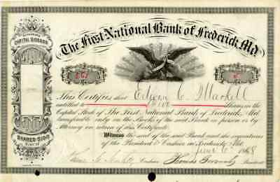 1888 First National Bank of Frederick Md. Stock Certificate