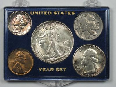 Rare 1935 Philadelphia Mint Set - Naturally Rainbow Toned Mint State!