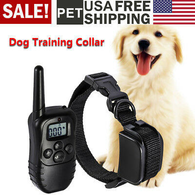 Pet Dog Training Collar Rechargeable Electric LCD 100LV Shock Remote Waterproof