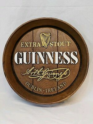 Guinness Beer Extra Stout Vintage Sign Simulated Barrel Plaque Bar Advertising