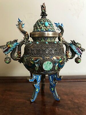 chinese increas silver  Burner with jade and turquoise