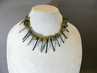 Fantastic Lot 19 Antique Carved Green Jade Pre-Columbian Mayan Beads Necklace