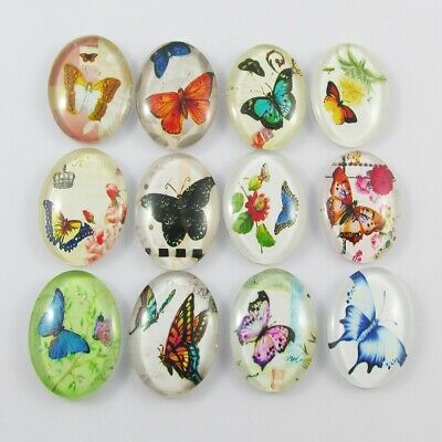 Oval Glass Dome Butterfly Print Cabochon 25x18mm Select 5 or 10 pce Random Mix