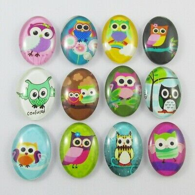 Oval Glass Dome Owl Print Cabochon 25x18mm Select 5 or 10 pce Random Mix