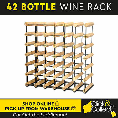 42 Bottle Wooden And Metal Wine Rack Natural Wood Cellar Organiser Timber Stand
