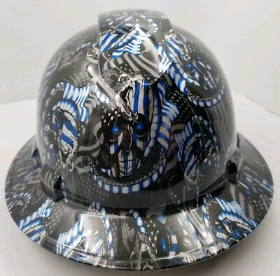 FULL BRIM Hard Hat custom hydro dipped , THIN BLUE LINE  USA FLAG OSHA APPROVED