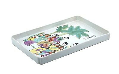 A Vintage Chinese Signed Porcelain Famille Rose Decorated Tray