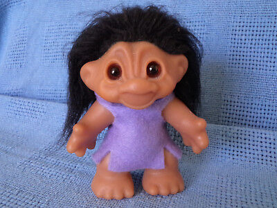 "THOMAS DAM NORFIN TROLL*  SWEET FACE BLACK HAIR * 12 CM 4.5"" * 1980s * VGC"