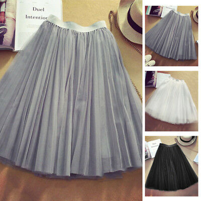 Women Skirt Tulle Pleated Wedding Prom Bouffant Dress Party Dancing Princess