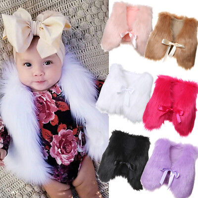 New Fashion Baby Girl Toddler Kid Faux Fur Winter Warm Vest Gilet Outerwear Coat