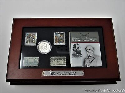 Heroes Confederacy 150th Ann. 1925 Stone Mountain Silver Half & Stamp Set |11449