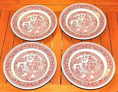 """4 Pink Red Willow 10"""" Plate Vitrified China Restaurant Ware Sterling China USA"""