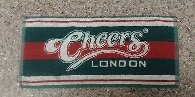 "Rare Cheers London Pub Bar Towel Green Red White 18""x8"" Pre-Owned Condition"