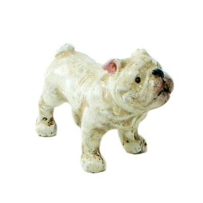 BEAU THE FRENCH BULLDOG Miniature Cast Iron Statue White Dog Retro Vintage Style