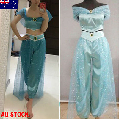 AU Aladdin Jasmine Princess Cosplay Women Girl Fancy Dress Up Party Costume Sets