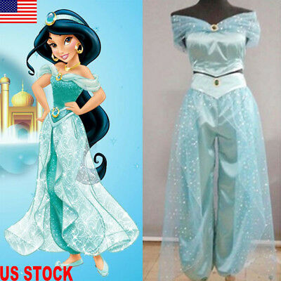 Halloween Aladdin Jasmine Princess Cosplay Womens Girl Fancy Dress Party Costume