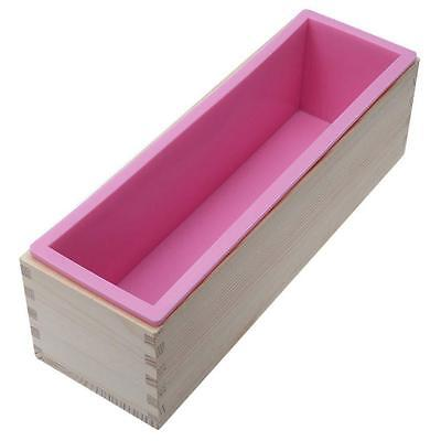 Rectangle Toast Loaf Bread Soap Cake Wooden Box Silicone Mold Mould DIY 1200g GL